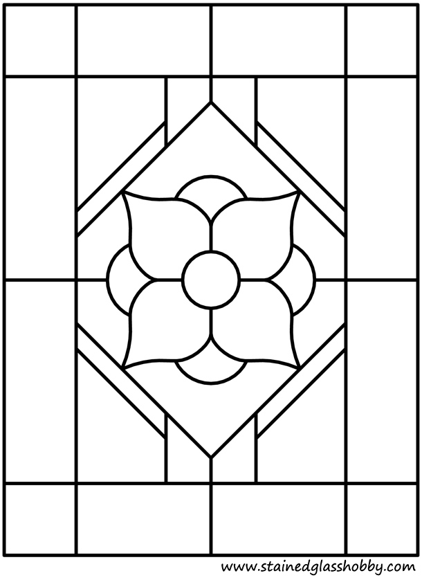 Flower window stained glass outline