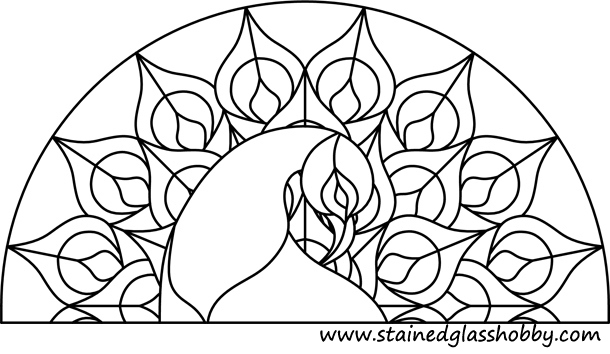 stained glass peacock patterns 無料図案 ステンドグラスのフリー