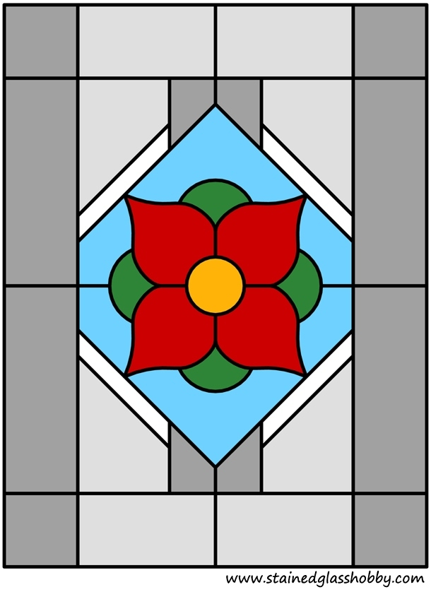Color stained glass flower design