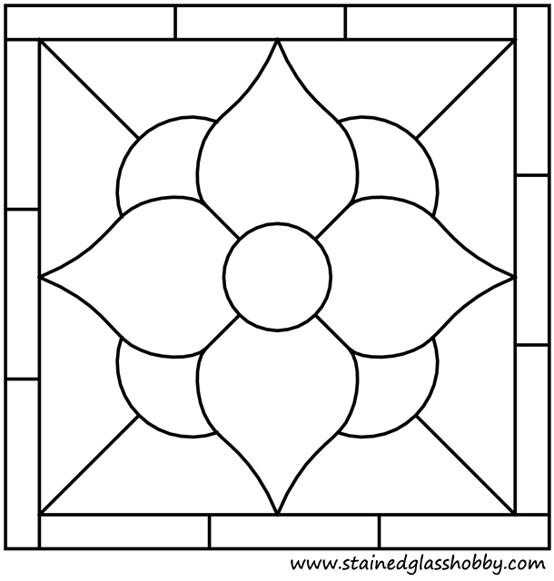 Square panel flower stained glass outline