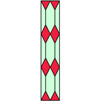 Stained glass panel diamond shape design