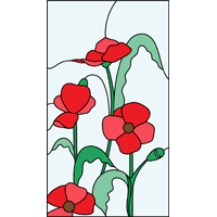 Four Flowers design stained glass