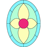Oval stained glass panel
