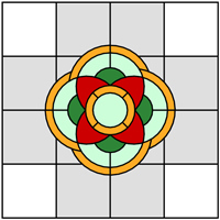 Square floral stained glass design