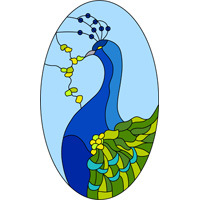 Oval peacock stained glass design