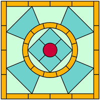 Square stained glass panel design