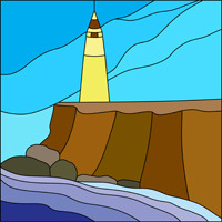 Lighthouse and sea stained glass pattern
