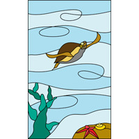 Turtle design stained glass