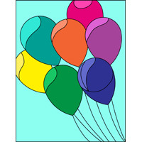 Colourfull balloons pattern stained glass