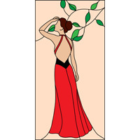 Lady in red stained glass panel