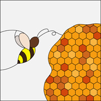 Honey bee stained glass squarish pattern
