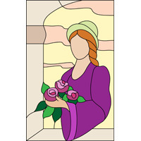 lady with hat and flowers stained glass panel