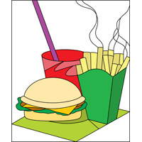burger, chips, drink stained glass pattern
