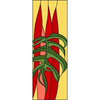 rectangular vertical red and green stained glass design
