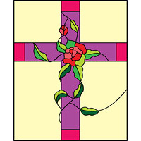 cross with roses stained glass