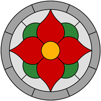 Flower round panel stained glass design