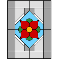 More complex Flower window stained glass design
